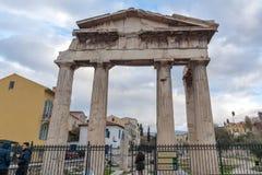 ATENAS, GRÉCIA - 20 DE JANEIRO DE 2017: Opinião do por do sol Roman Agora em Atenas, Grécia Fotografia de Stock Royalty Free