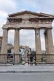 ATENAS, GRÉCIA - 20 DE JANEIRO DE 2017: Opinião do por do sol Roman Agora em Atenas, Grécia Fotos de Stock Royalty Free