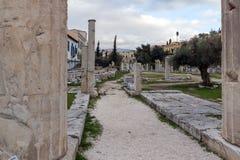ATENAS, GRÉCIA - 20 DE JANEIRO DE 2017: Opinião do por do sol Roman Agora em Atenas, Grécia Fotos de Stock