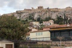 ATENAS, GRÉCIA - 20 DE JANEIRO DE 2017: Opinião do por do sol Roman Agora em Atenas, Grécia Imagens de Stock