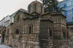 ATENAS, GRÉCIA - 20 DE JANEIRO DE 2017: Igreja de Panaghia Kapnikarea em Atenas, Attica Fotografia de Stock