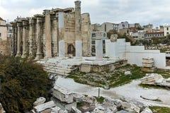 ATENAS, GRÉCIA - 20 DE JANEIRO DE 2017: Opinião Roman Agora em Atenas, Attica do por do sol Fotografia de Stock