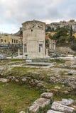 ATENAS, GRÉCIA - 20 DE JANEIRO DE 2017: Opinião Roman Agora em Atenas, Attica do por do sol Fotos de Stock Royalty Free