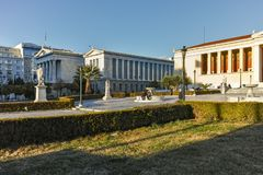ATENAS, GRÉCIA - 19 DE JANEIRO DE 2017: Vista panorâmica da biblioteca nacional de Atenas, Attica Imagem de Stock
