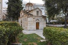 ATENAS, GRÉCIA - 20 DE JANEIRO DE 2017: Vista surpreendente da igreja de Agios Eleftherios em Atenas Fotografia de Stock
