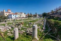 Atenas, Grécia - 4 de março de 2017: As ruínas da ágora romana Foto de Stock Royalty Free