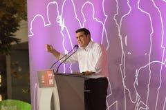 Atenas, Grécia 18 de setembro de 2015 Primeiro ministro de Grécia Alexis Tsipras que dá seu último discurso público antes das ele Imagens de Stock