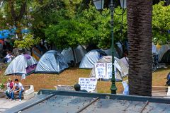 ATENAS, GRÉCIA - EM JUNHO DE 2011: Povos na greve Fotografia de Stock Royalty Free