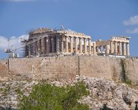 Atenas Grécia, templo antigo do Partenon no monte da acrópole Foto de Stock