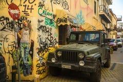 ATENAS, GRECIA - arte contemporáneo de la pintada en las paredes de la ciudad Imagen de archivo libre de regalías