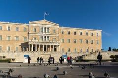 ATENAS, GRECIA - 19 DE ENERO DE 2017: El parlamento griego en Atenas, Atica Imagen de archivo