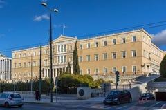 ATENAS, GRECIA - 19 DE ENERO DE 2017: El parlamento griego en Atenas, Grecia Fotografía de archivo libre de regalías