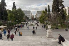 ATENAS, GRECIA - 20 DE ENERO DE 2017: Panorama del cuadrado del sintagma en Atenas, Grecia Imagenes de archivo