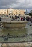 ATENAS, GRECIA - 20 DE ENERO DE 2017: Panorama del cuadrado del sintagma en Atenas, Grecia Fotos de archivo