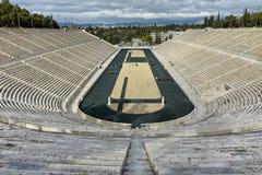 ATENAS, GRECIA - 20 DE ENERO DE 2017: Vista asombrosa del estadio o del kallimarmaro de Panathenaic en Atenas Fotos de archivo