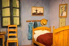 Atenas, Grecia 25 de noviembre de 2017 año exposición Van Gogh Alive La experiencia Dormitorio en Arles, 3D Foto de archivo