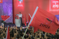 Atenas, Grecia 18 de septiembre de 2015 Primer ministro de Alexis Tsipras de Grecia pronunciar un discurso público foto de archivo libre de regalías