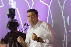 Atenas, Grecia 18 de septiembre de 2015 Retrato de Alexis Tsipras en su discurso público pasado antes de las elecciones griegas Fotografía de archivo libre de regalías