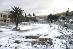 Atenas, Grecia - el ágora y la acrópolis Fotografía de archivo libre de regalías