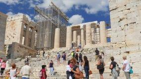 ATENAS - GRECIA, JUNIO DE 2015: Opinión de la acrópolis, 4k almacen de video