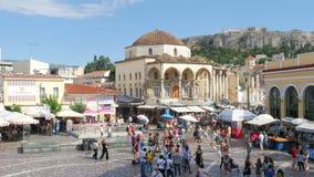 ATENAS - GRECIA, JUNIO DE 2015: Opinión del cuadrado de Monastiraki almacen de metraje de vídeo