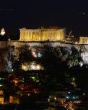 Atenas Grecia, opinión de la noche del Parthenon imagen de archivo libre de regalías