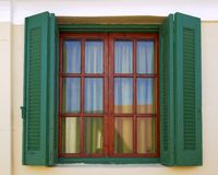 Atenas Grecia, ventana de la casa del vintage Fotografía de archivo