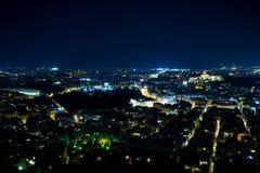Atenas na noite imagem de stock royalty free
