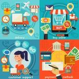 Atención al cliente, compra en línea, formas de pago y conceptos de la entrega Fotos de archivo libres de regalías