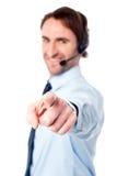 Atención al cliente execuitive señalándole Imagen de archivo libre de regalías