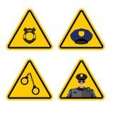 Atención de la policía de la señal de peligro Detención amarilla de la muestra de los peligros Po Foto de archivo libre de regalías