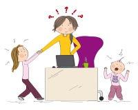 Atención del ` s de la madre del hermano travieso de los niños que lucha libre illustration