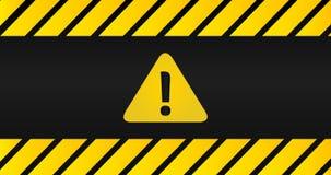 Atención muestra negra y del amarillo en marco rayado en fondo negro Triángulo con el signo de exclamación Diseño con el icono de ilustración del vector