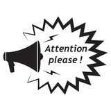 Atención por favor, icono con el altavoz/el megáfono stock de ilustración