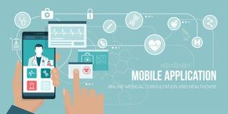 Atención sanitaria app en un smartphone libre illustration