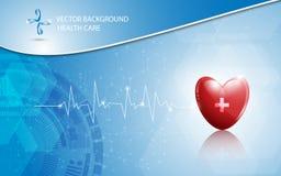 Atención sanitaria del fondo del vector y concepto médico del logotipo Imagen de archivo libre de regalías