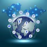 Atención sanitaria del globo médica y fondo del extracto del concepto del icono de la ciencia Imagen de archivo