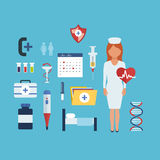 Atención sanitaria e investigación médica ilustración del vector