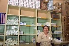 Atención sanitaria, farmacia en el hospital de Argentina Foto de archivo