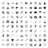 Atención sanitaria 100 iconos fijados para el web Foto de archivo libre de regalías