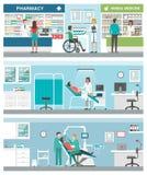 Atención sanitaria y clínicas stock de ilustración