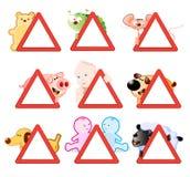Atención - señales de peligro stock de ilustración