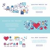 Atención sanitaria, banderas del vector de los servicios médicos fijadas Foto de archivo libre de regalías