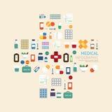 Atención sanitaria médica de los iconos en hospital más la plantilla de la muestra de la forma Fotografía de archivo libre de regalías