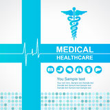 Atención sanitaria médica - la cruz y el caduceo y las ondas azules del vector del icono de los órganos del corazón y del cuerpo  Foto de archivo libre de regalías