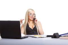 Atendimento da mulher de negócio Imagem de Stock Royalty Free