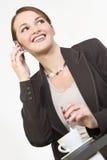 Atendimento de telefone executivo feliz imagens de stock