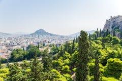 Atene. Collina ed acropoli di Lycabettus di vista Fotografie Stock Libere da Diritti
