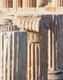 Atene - dettaglio di capitale ionico sull'acropoli immagini stock libere da diritti