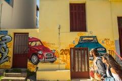 ATENE, GRECIA - arte contemporanea dei graffiti sui mura di cinta Fotografia Stock